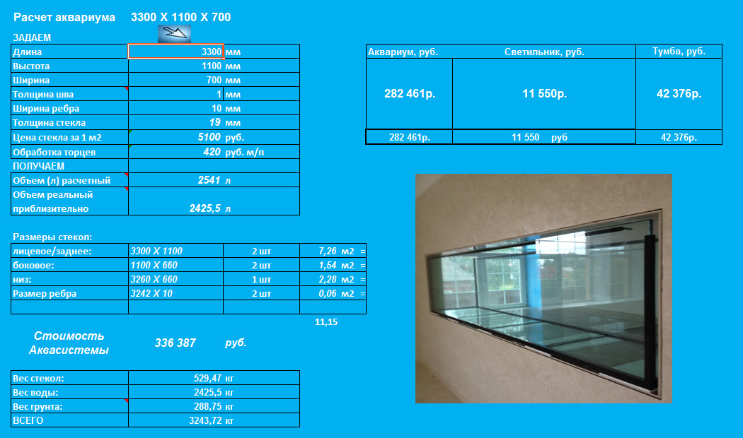 Аквариум на 300 литров своими руками размеры стекла 554